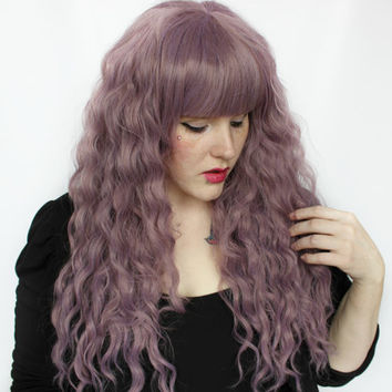 SALE Pastel wig, Purple wig, Mermaid Scene wig, Cosplay wig - Festival Boho Wavy Long Hair wig // Purple Perfection