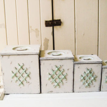 Cottage White And Mint Vintage Canister Set Wooden Shabby Chic
