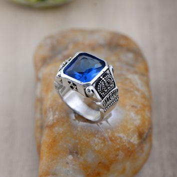 925 Sterling Silver Retro Blue Crystal Crown Ring Men Thai Silver Fine Jewelry Gift Wide Heavy Finger Ring CH030717