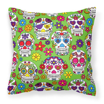 Day of the Dead Green Fabric Decorative Pillow BB5117PW1414