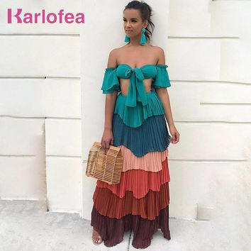 Karlofea Fashion Bohemian Summer Two Piece Beach Wear Sexy Boho Chic Chiffon Pleated Layer Crop Top And Long Skirt Women New Set