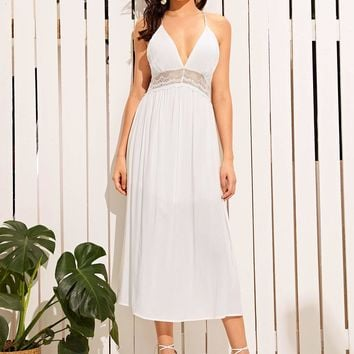 Deep V Neck Tie Back Lace Insert Slip Dress