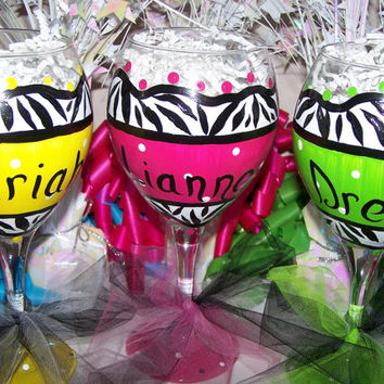 Personalized Hand Painted Wine Glass Lemon Yellow, Lemon Lime, & Hot Pink Zebra Set of 3 Perfect Bridesmaid or Birthday Gift
