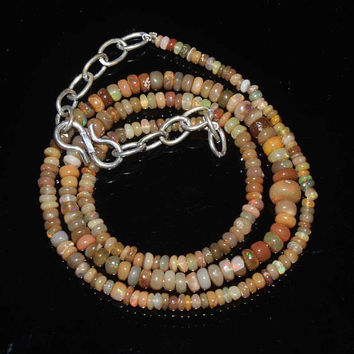 AAA+++ beauty Ethiopian Ultimate Welo Fire opal 100% Natural An Amazing Beaded Necklace  63