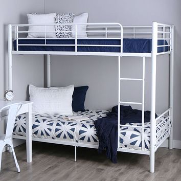 Twin over Twin Sturdy Steel Metal Bunk Bed in White Finish