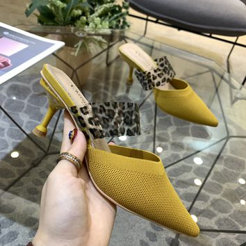 Dior Yellow Women Fashion Half slipper Toe High Heels Shoes