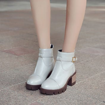 High Heels Ankle Boots Thick Heeled Round Toe Pu Leather Buckle Women Shoes 75924213