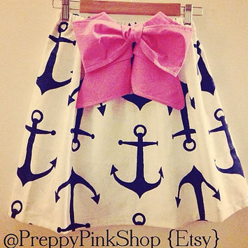 Navy Anchors on White with Pink Detachable Bow Skirt