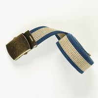 Navy & Olive Striped Cotton Web Military Belt