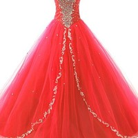 JAEDEN Wedding Sweetheart Long Quinceanera Dresses Formal Prom Dresses Ball Gown Red US2