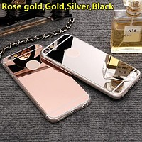 Ultra Thin Luxury Bling Mirror Soft TPU Silicon Back Cover Case for IPhone 7 6 6s Plus 5 5s 5SE 4 4s Mobile Phone Bag Cases
