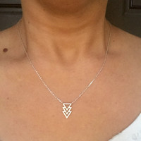 Triple Threat Triangle Silver Necklace