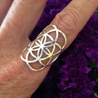 Sterling Silver Seed of Life Ring, Sacred G Geometry Flower of Life Full Power Jewelry