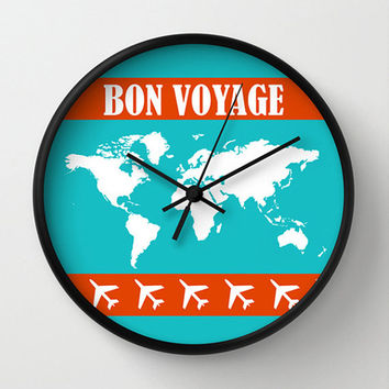 Travel Wall clock - World map clock - Designer gift - Nursery decor - Contemporary decor - Wall Decor - Wall art