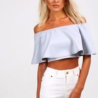 Evelyn Grey Frill Bardot Crop Top
