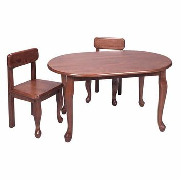 Gift Mark 3002C Oval Queen Anne Table and Two Chair Set - Cherry