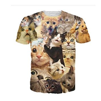 3D Printed Cat T Shirt Crowd of Cats