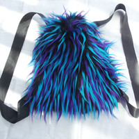 Blue Purple Black Monster Fur Drawstring Backpack
