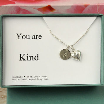 You are Kind gift box jewelry sterling silver necklace with heart and initial - unique thank you gift for special friend appreciation gift
