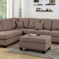 2 pc Darleen collection coffee cotton blended fabric upholstered sectional sofa with nail head trim accents