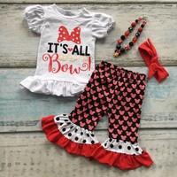 4 PCs Minnie Mouse Ruffle outfit with matching accessories Set!