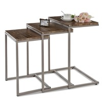 3PCS Metal Frame Nesting Console Tables Set Sofa Couch Coffee Tables Ottoman Bedroom Home Furniture