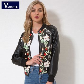Trendy VANGULL Women Faux Leather Jacket Print Floral Zipper Baseball Cloth Style Ladies Elegant Outwear Winter Autumn Fashion 2018 AT_94_13