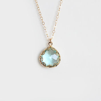 Blue Glass Pendant Necklace - Grace - Gold