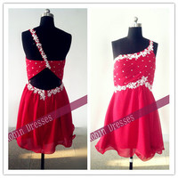 New Prom Dresses, Custom-made Short One Shoulder Red Prom Dresses Homecoming Dresses Party Dresses