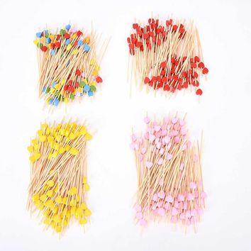 100Pcs/Set 12cm Bamboo Heart Food Picks Fruit Fork Sticks Buffet Cupcake Toppers Cocktail Wedding Festive Party Decoration