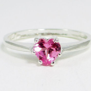 Small Pink Sapphire Heart Ring Sterling Silver, September Birthstone Ring, PInk Sapphire Ring, Heart Ring, 925 Sterling Silver Ring
