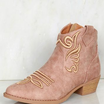 Embroidered Cowboy Boots Warm Taupe