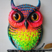Owl art whimsical colorful owl wall sculpture