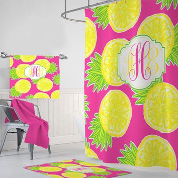 Pineapple SHOWER CURTAIN, Lilly Pineapple Pattern Bathroom Decor, MONOGRAM Personalized, Girl Sister Bathroom Decor, Bath Towel, Bath Mat
