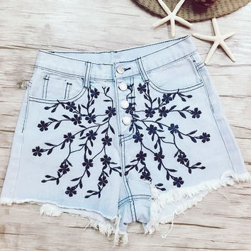 Cute Floral Embroidery High Waisted Denim Shorts