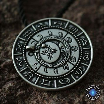Old Moon Phase Zodiac Amulet