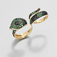 John Hardy - Semi-Precious Multi-Stone & 18K Gold Cobra Two-Finger Ring/Black Spinel - Saks Fifth Avenue Mobile