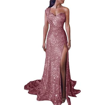 One Shoulder Gilded Slited Prom Dress