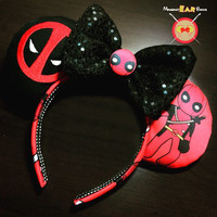 Deadpool Mickey Ear Headband with Embroidered Logo