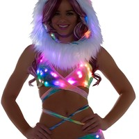 Tie Dye Light-Up Wrap Halter Top With Light-Up shorts