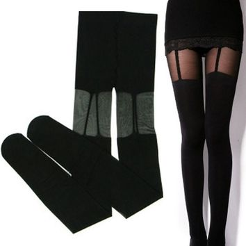 1 Pcs Women Sexy Pantyhose Spaghetti Strap Black Stockings Thigh High Over the knee Legging Fake Suspenders 310300 Color Black