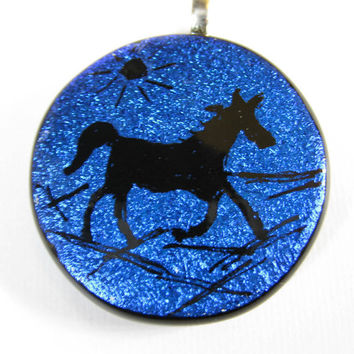 Bold Venture Dichroic Hand Etched Horse Pendant Jewelry by mysassyglass
