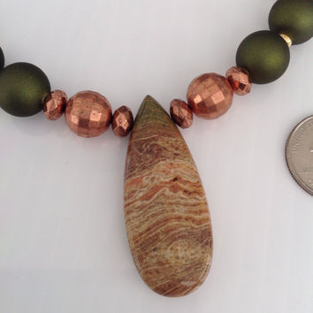 Beaded necklace, pendant, copper, olive, peach, bronze, gemstone beads, silky, rubberized beads