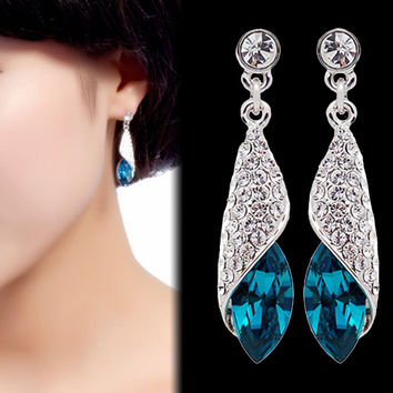 925 Sterling Silver Water Drop Earrings Swarovski Crystal Drop Dangle Earrings