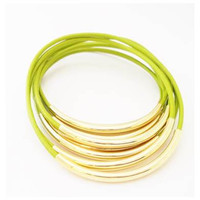 Bright Green Leather Bracelets- Bangles with Gold or Silver Tube Accents