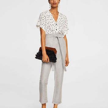 Striped linen-blend trousers - Women | MANGO USA