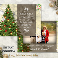 Christmas Card Template - Holiday Greeting Card - Christmas Tree Card - Printable Download Card - Photo Card - Editable Word Template - Gold