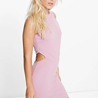 Petite Orla Cut Out High Neck Bodycon Dress | Boohoo