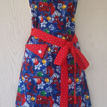 Spiderman Christmas Full Apron for Women / Marvel Comics / Snowflakes & Ornaments