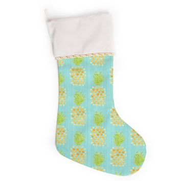 """Noonday Design """"Heart Pineapples"""" Yellow Teal Painting Christmas Stocking"""